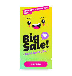 Asian shopping sale template with fun happy face vector