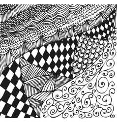 Background with doodling hand drawn patterns vector image