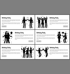 birthday party promotional monochrome banners set vector image