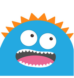 Blue monster head with two eyes teeth tongue vector