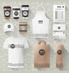 Cafe merchandise or coffee items mockups vector
