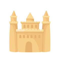 Cartoon icon of big sandcastle with three towers vector