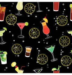 Cocktail and lemons party black seamless pattern vector