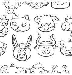 Collection stock of head animal doodles vector