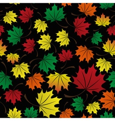 Colorful leaves dark fall seamless pattern eps10 vector