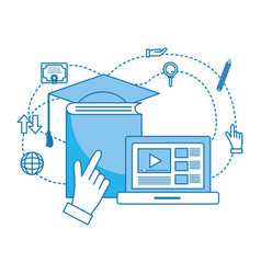 computer with book vector image
