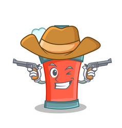 Cowboy aerosol spray can character cartoon vector