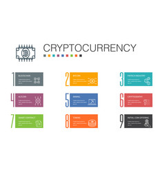 cryptocurrencyinfographic 10 option line concept vector image