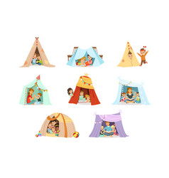 Cute little children playing with a teepee tent vector