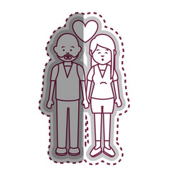 cute lovers couple ethnicity vector image
