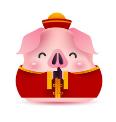 Cute pig greeting for chinese new year vector