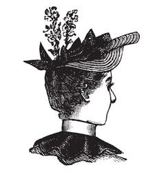 decorative hat vintage engraving vector image
