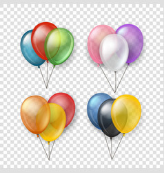 different color flying balloon groups clipart vector image