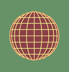 earth globe sign cordovan icon and mellow vector image