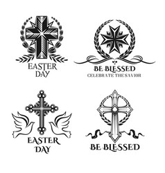 Easter crucifix cross symbols for greeting vector