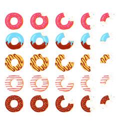 eaten donut bitten chocolate donuts pink icing vector image