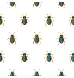 Emerald and gold beetle brooch seamless vector