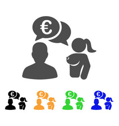 Euro adult chat icon vector