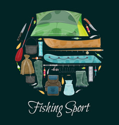fisherman sport fishing club poster vector image