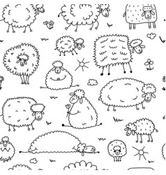 flock sheeps seamless pattern for your design vector image