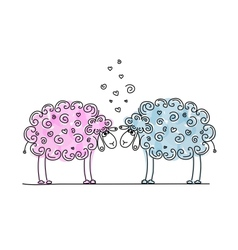 Funny sheeps in love sketch for your design vector