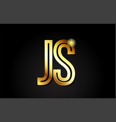 Gold alphabet letter js j s logo combination icon vector