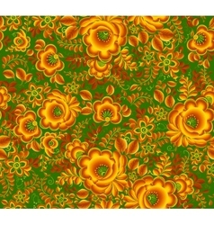 Gold and green floral pattern in Russian hohloma vector