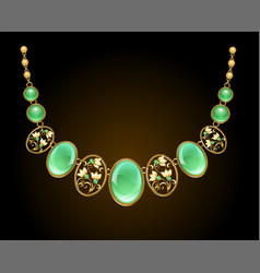 Golden necklace with chrysoprase vector