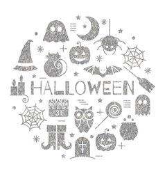 Halloween silver icons set in circle shape vector image