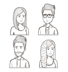 Hand drawn people set vector