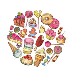 hand drawn types of sweets circle concept vector image