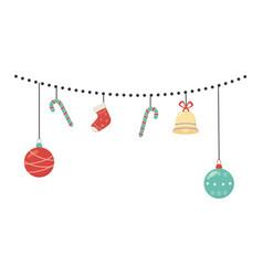 hanging decoration cane ball bell sock celebration vector image