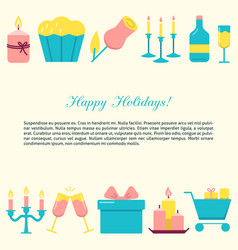 happy holidays concept banner in flat style vector image