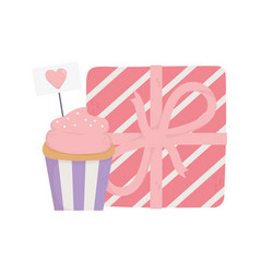 happy valentines day sweet cupcake sign heart vector image