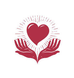 Heart in hands logo love charity label or vector