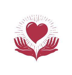 Heart in hands logo love charity label vector