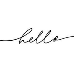 Hello monocolor hand drawn lettering vector