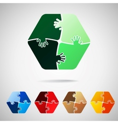 Hexagon from puzzle pieces vector
