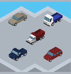 Isometric car set of car auto suv and other vector