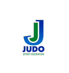 judo icon for combat sport club emblem design vector image