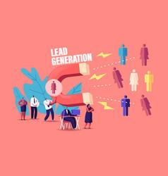 Lead generation concept tiny businessman vector