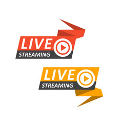 live streaming logo on banner - play button for vector image