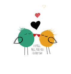 love card with couple birds vector image