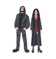 Man and woman with long loose hair dressed in vector