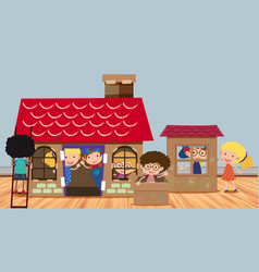 Many kids playing in playhouse vector
