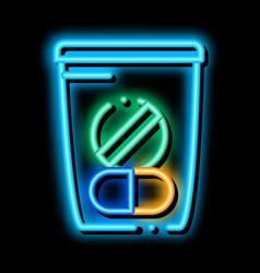 Medicine bag supplements neon glow icon vector