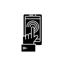 mobile touchscreen black icon sign o vector image