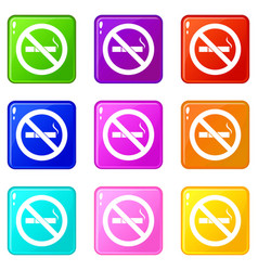 No smoking sign icons 9 set vector