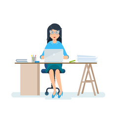 office worker in strict clothes working at vector image