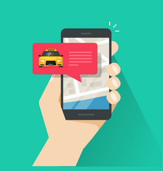 ordering online taxi on smartphone vector image